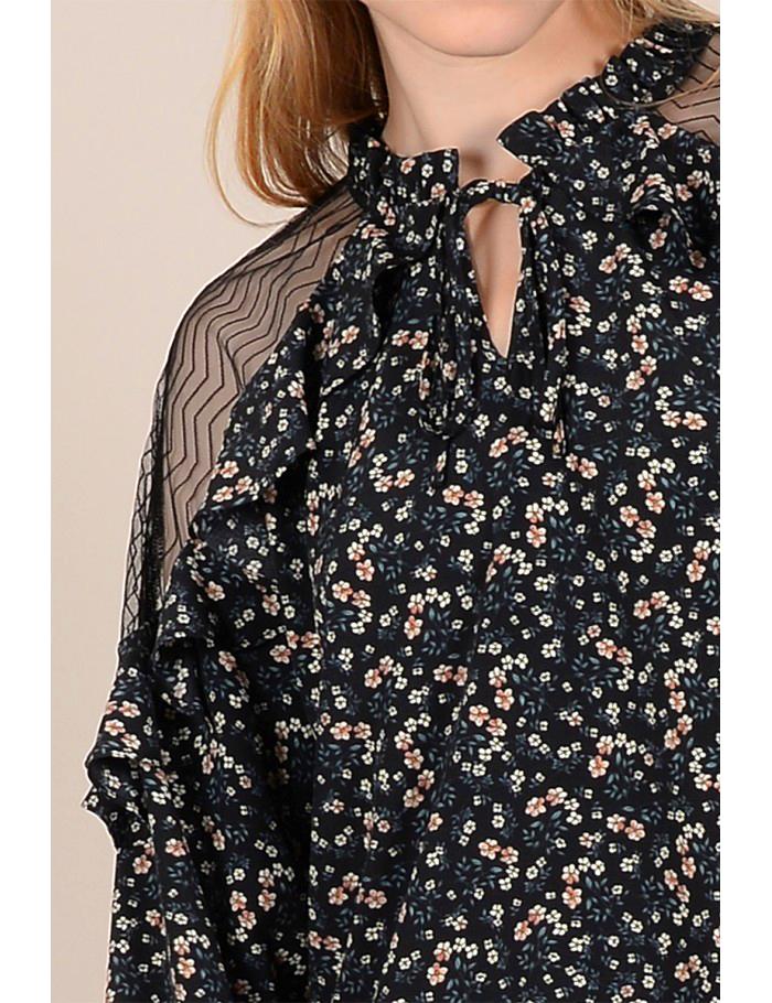 Μπλούζα φλοραλ με διαφάνεια στους ώμους