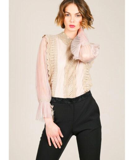 Μπλούζα lace με τούλι στα μανίκια-Molly Bracken