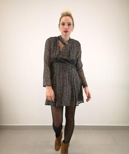 Φόρεμα μίνι με φιόγκο δέσιμο στο λαιμό