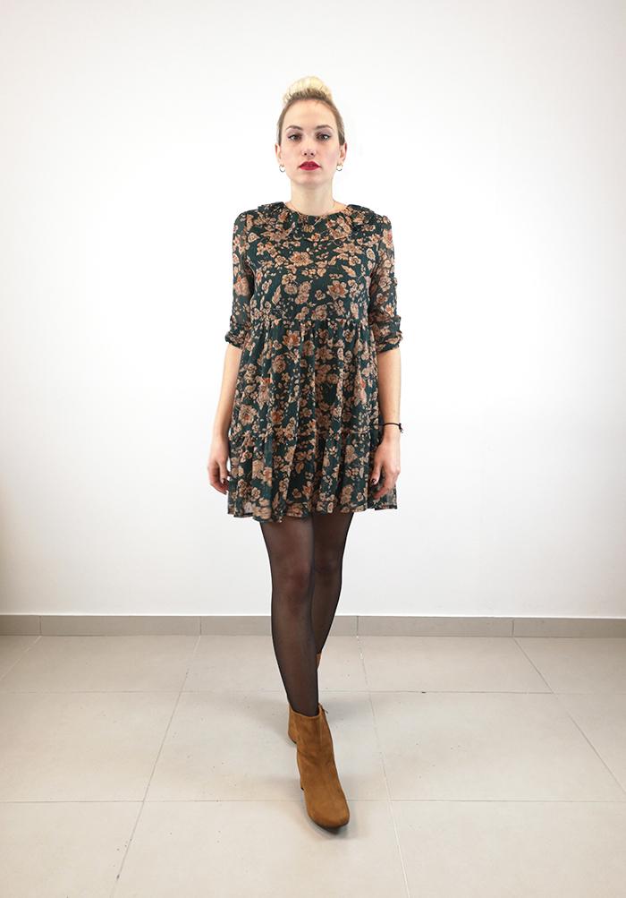 Φόρεμα mini floral πράσινο