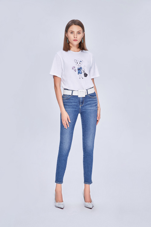 LOW-RISE WAIST SKINNY JEANS WITH PUSH-UP EFFECT