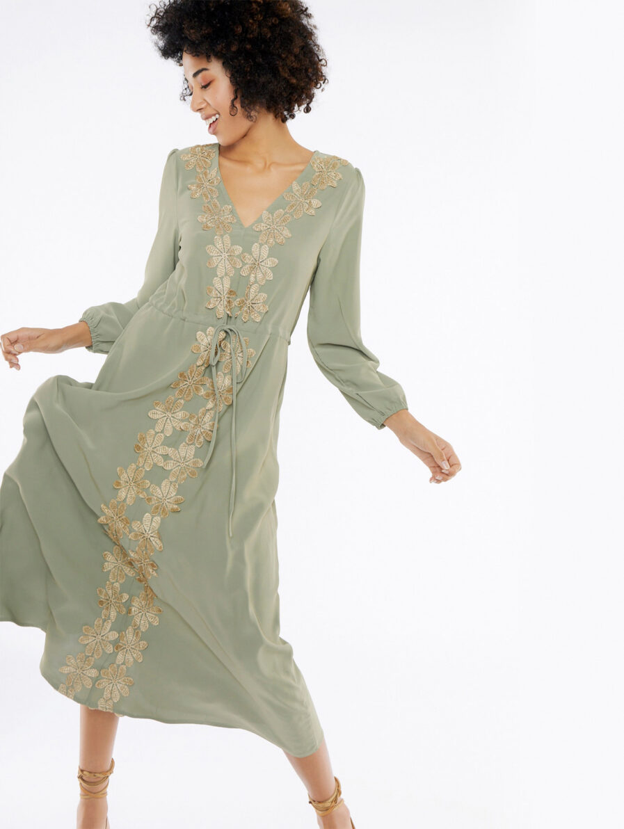 Φόρεμα μακρύ με χρυσά λουλούδια - Meisïe