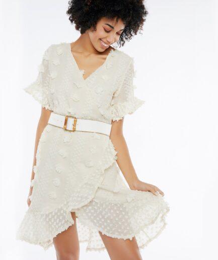 Φόρεμα mini κρουαζέ με μανίκι λευκό - Meisie
