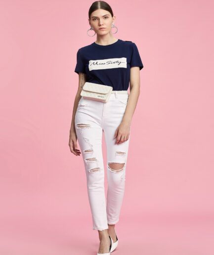MISS SIXTY-BLUE T-SHIRT WITH CONTRASTING LOGO