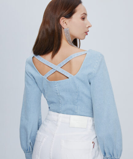 MISS SIXTY-FITTED DENIM TOP WITH BUTTONS