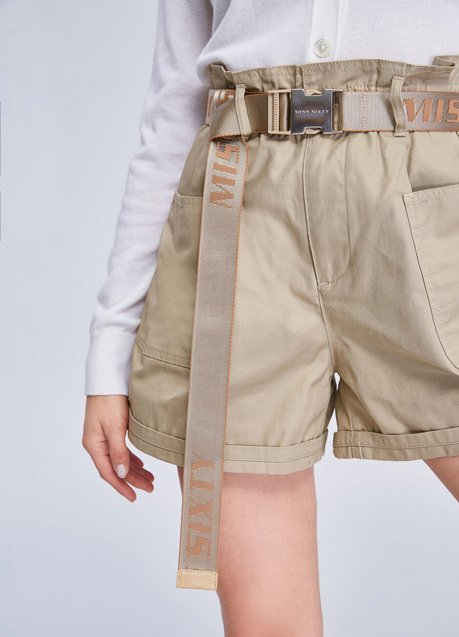 MISS SIXTY-SAND BERMUDA SHORTS WITH BELT
