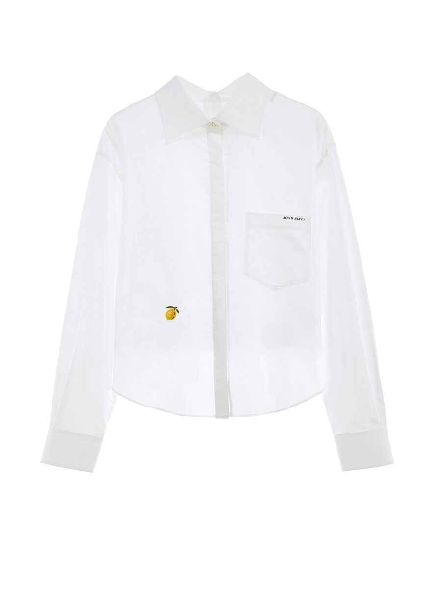 MISS SIXTY-WHITE SHIRT WITH LOOSE FIT AND LEMON EMBROIDERY