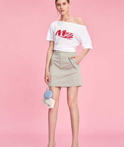 MISS SIXTY-WHITE T-SHIRT WITH CONTRASTING LOGO