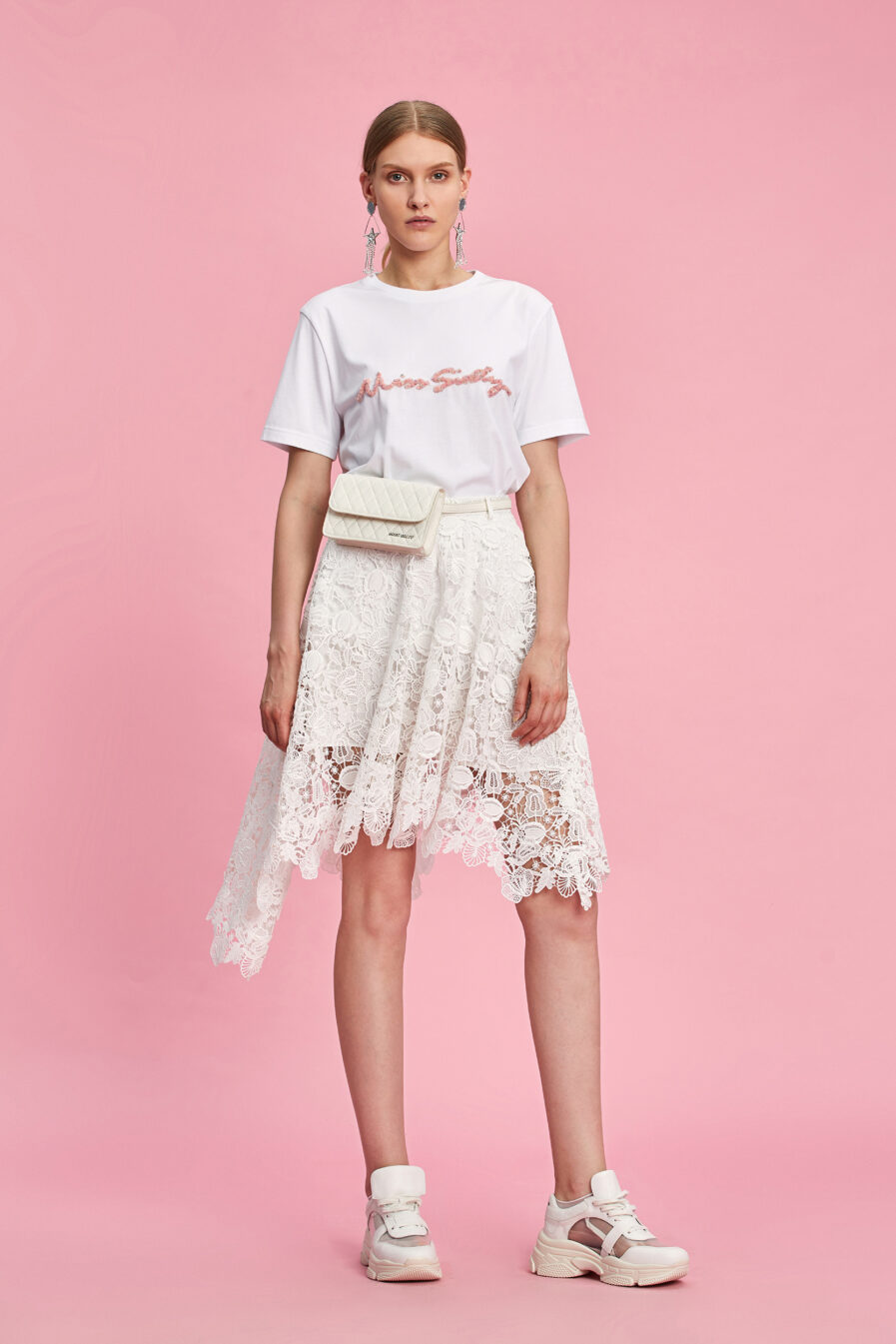 MISS SIXTY-WHITE T-SHIRT WITH SEQUINS