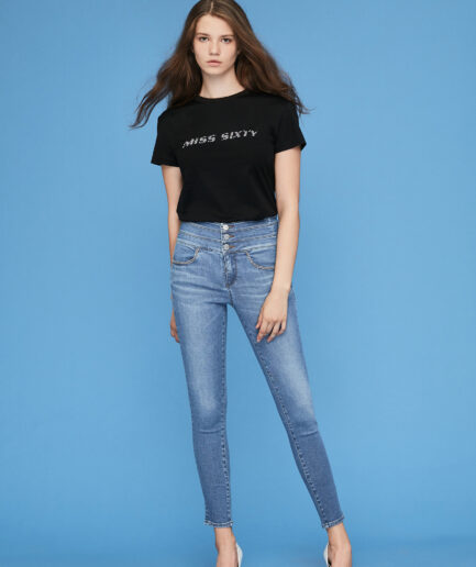 MISS SIXTY-BLACK T-SHIRT WITH SEQUINED LOGO