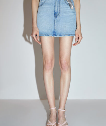 MISS SIXTY-BLUE DENIM MINISKIRT