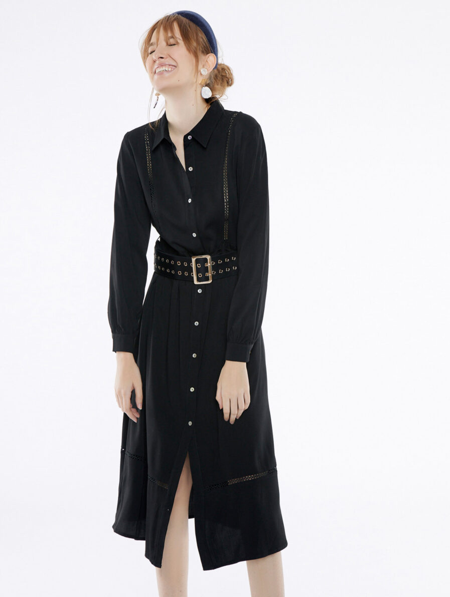 Φόρεμα μαύρο σεμιζιέ με μακρύ μανίκι