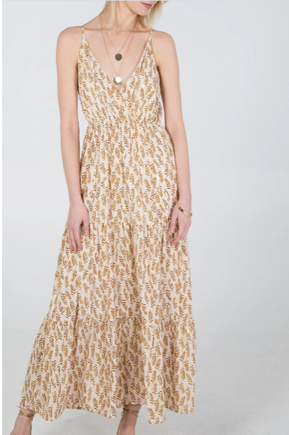 Φόρεμα maxi με φύλλα