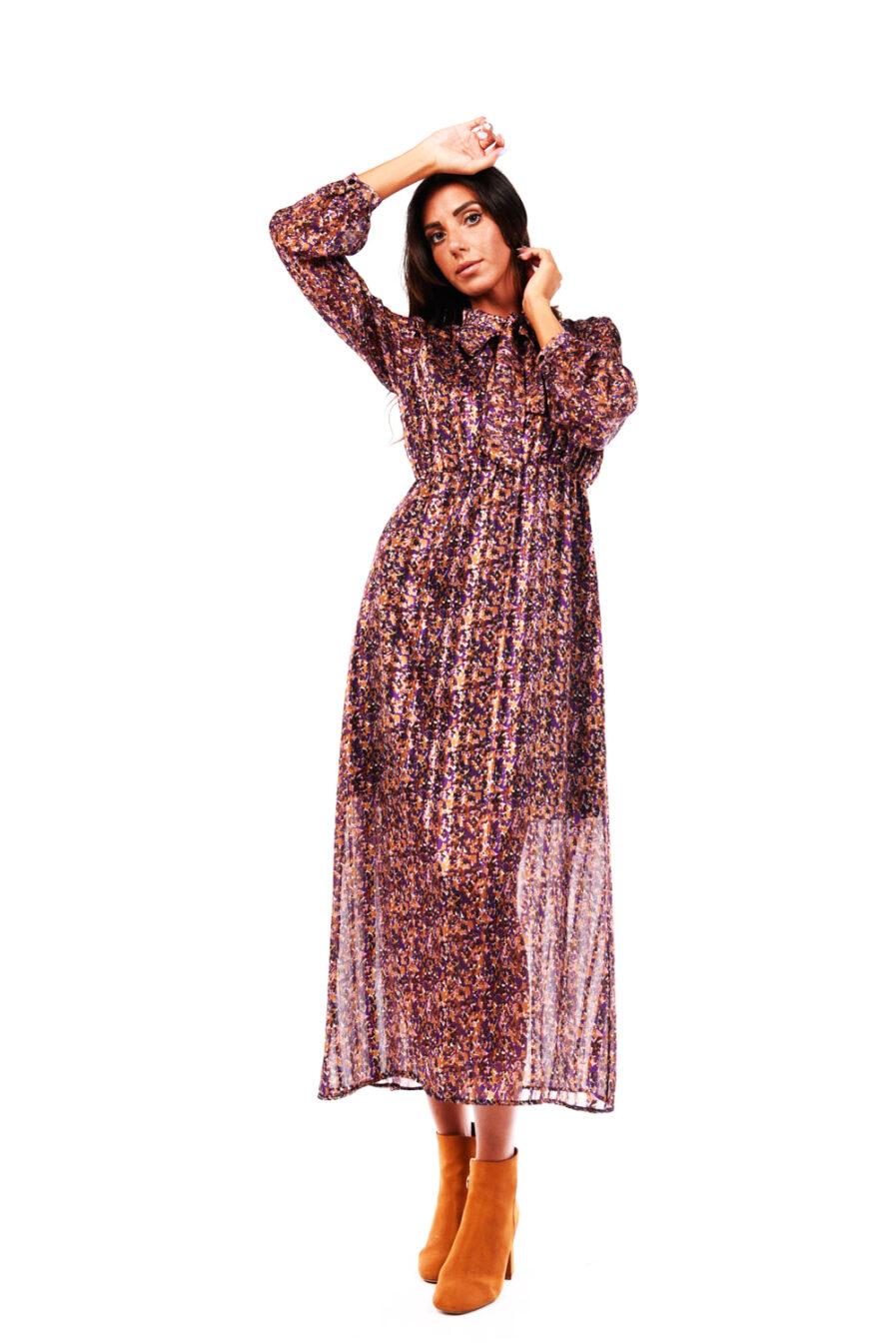 Φόρεμα purple με φιόγκο στο λαιμό