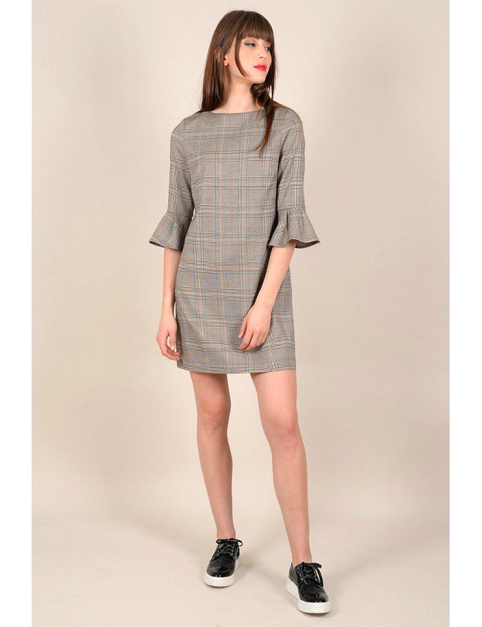 Φόρεμα μίνι καρό με φραμπαλά στα μανίκια
