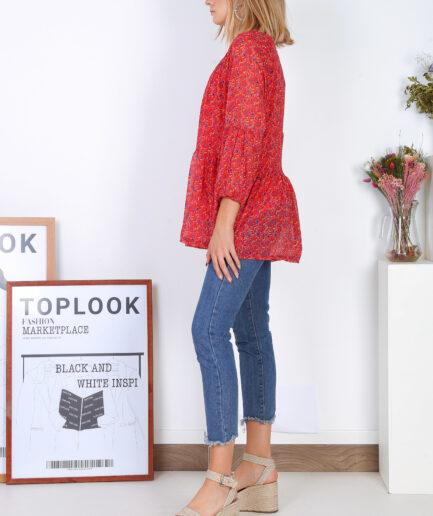 Μπλούζα Floral κόκκινη