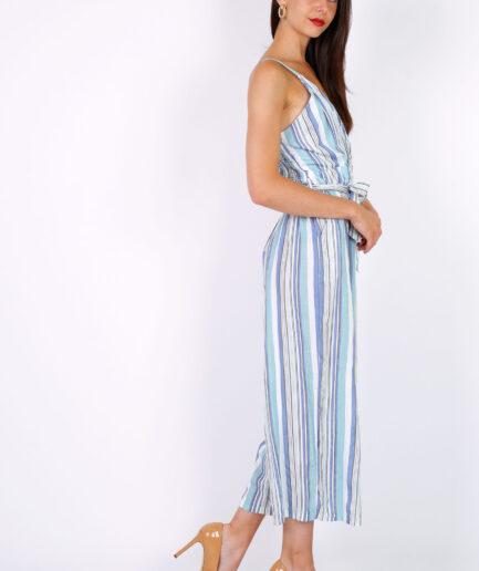 Ολόσωμη φόρμα ριγέ με τιράντες