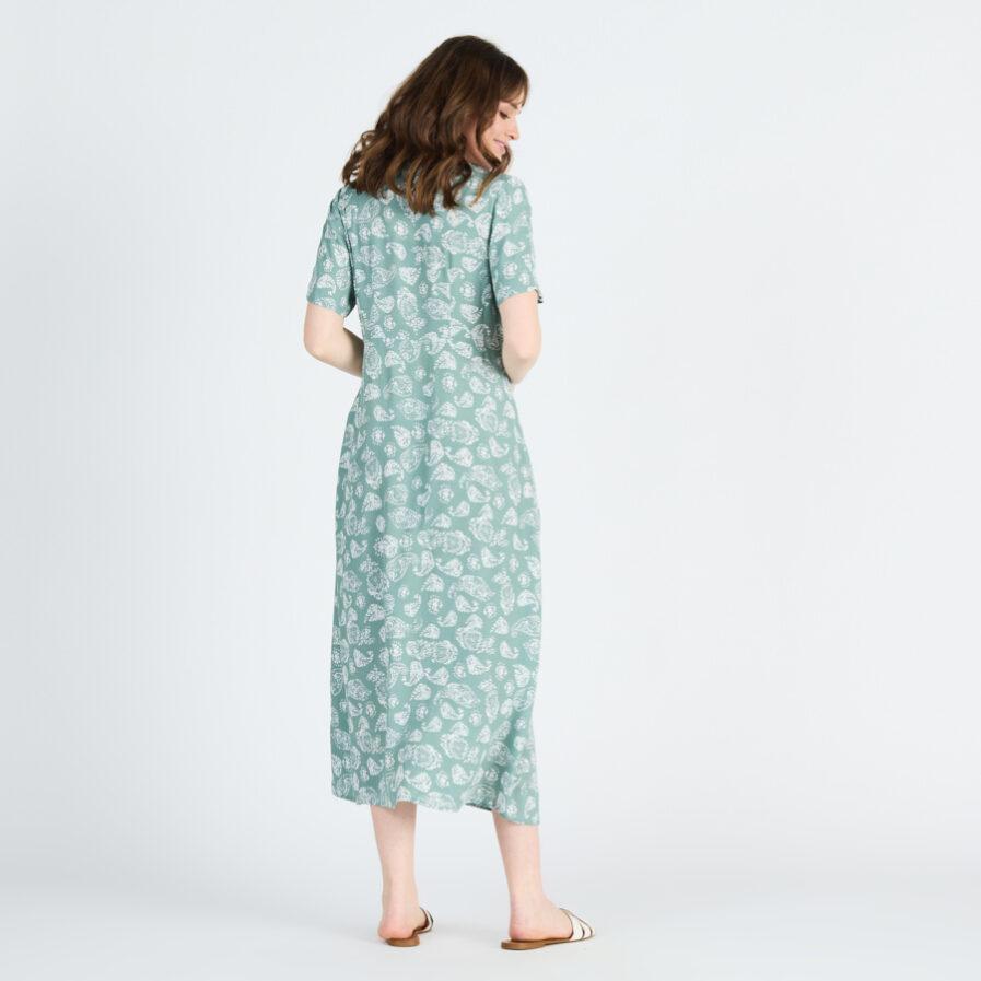Φόρεμα με κουμπιά και μανίκι midi