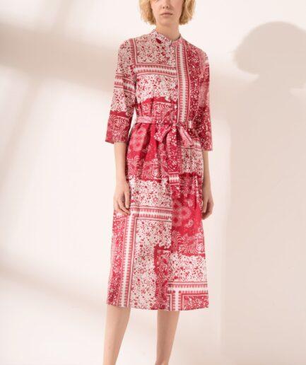 Φόρεμα midi με γιακά μάο
