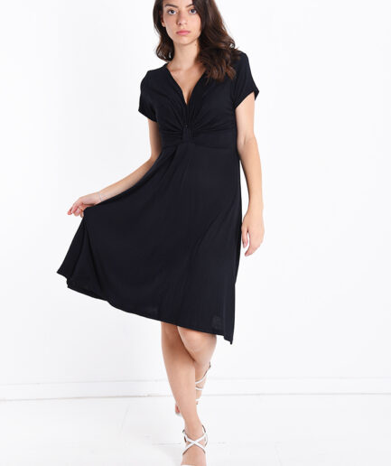 Φόρεμα με V και μανίκι μαύρο