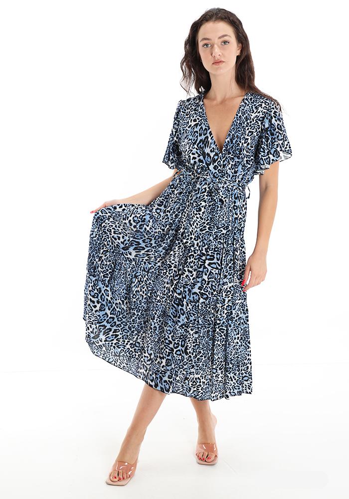 Φόρεμα Animal print blue midi