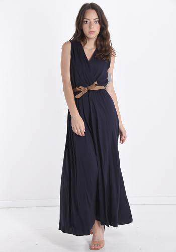Φόρεμα maxi με κρουαζέ μπούστο και ζώνη