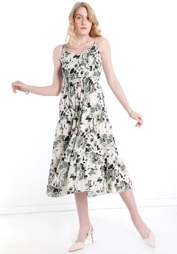 Φόρεμα midi με φύλλα